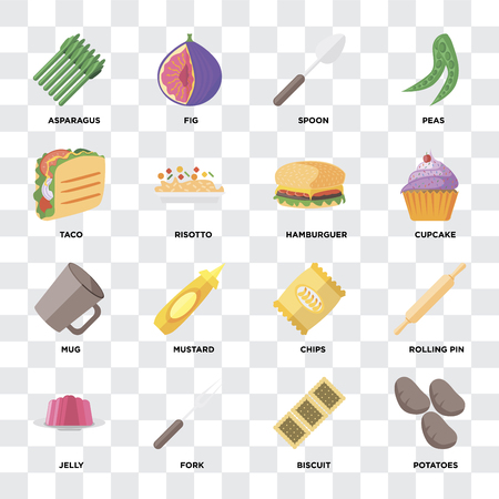 Set Of 16 icons such as Potatoes, Biscuit, Fork, Jelly, Rolling pin, Asparagus, Taco, Mug, Hamburguer on transparent background, pixel perfect Иллюстрация