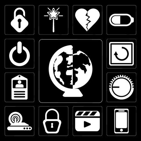 Set Of 13 simple editable icons such as Worldwide, Smartphone, Video player, Locked, Wireless internet, Volume control, Id card, Restart, Switch on black background Ilustração