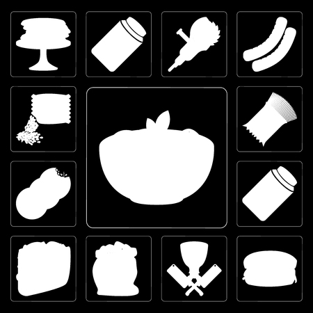 Set Of 13 simple editable icons such as Pasta, Hamburguer, Butcher, Flour, Taco, Pickles, Cookies, Seeds on black background