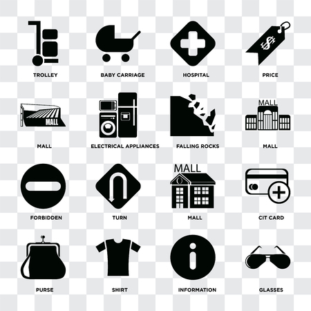 Set Of 16 icons such as Glasses, Information, Shirt, Purse, Cit card, Trolley, Mall, Forbidden, Falling rocks on transparent background, pixel perfect
