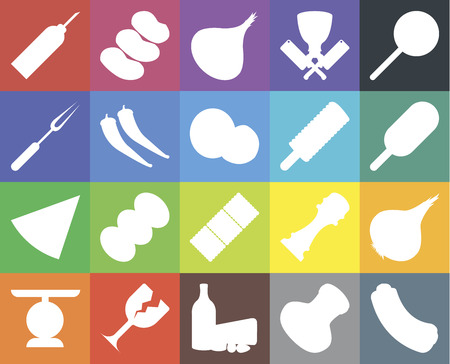 Set Of 20 icons such as Hot dog, Salt, Dairy, Glass, Scale, Jawbreaker, Onion, Biscuit, Pizza, Pepper, Ice cream, Oil, web UI editable icon pack, pixel perfect Ilustrace