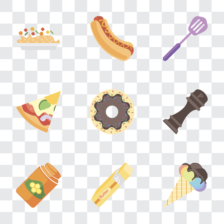 Set Of 9 simple transparency icons such as Ice cream, Butter, Honey, Pepper, Doughnut, Pizza, Spatula, Hot dog, Risotto, can be used for mobile, pixel perfect vector icon pack on transparent