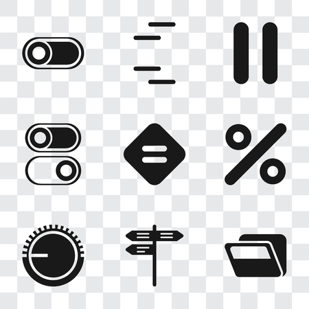Set Of 9 simple transparency icons such as Folder, Street, Volume control, Percent, Equal, Switch, Pause, can be used for mobile, pixel perfect vector icon pack on transparent background