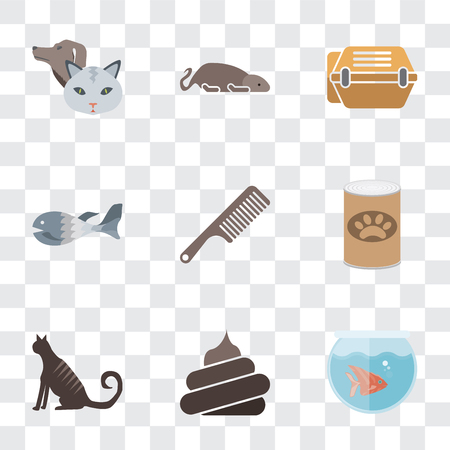 Set Of 9 simple transparency icons such as Fishbowl, Poop, Cat, Pet food, Comb, Fish, Animal carrier, Mouse, Pet, can be used for mobile, pixel perfect vector icon pack on transparent background Illustration