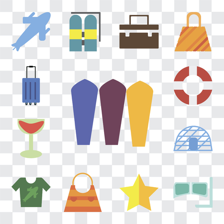 Set Of 13 transparent editable icons such as Surfing, Snorkel, Star, Bag, Shirt, Igloo, Cocktail, Lifebuoy, Luggage, web ui icon pack, transparency set