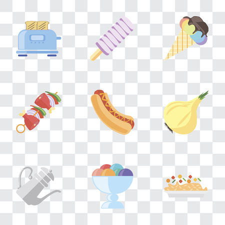 Set Of 9 simple transparency icons such as Risotto, Ice cream, Teapot, Onion, Hot dog, Kebab, Toaster, can be used for mobile, pixel perfect vector icon pack on transparent