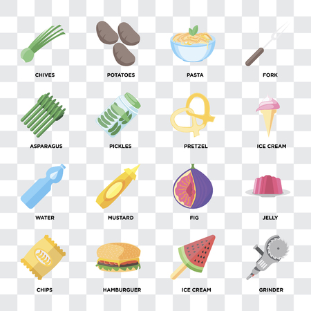 Set Of 16 icons such as Grinder, Ice cream, Hamburguer, Chips, Jelly, Chives, Asparagus, Water, Pretzel on transparent background, pixel perfect Çizim