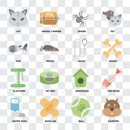 Set Of 16 icons such as Hamster, Ball, Band aid, Water tank, Fish bone, Cat, Fish, Platform, Leash on transparent background, pixel perfect