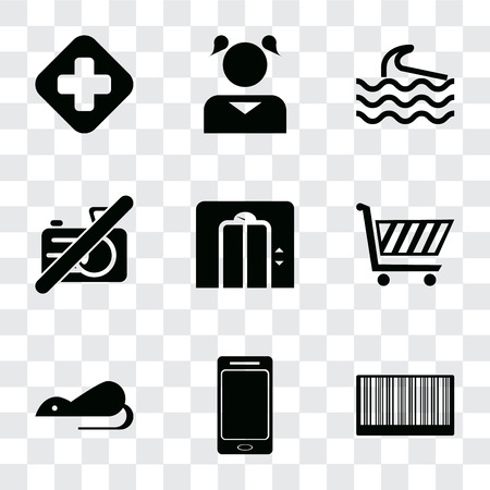 Set Of 9 simple transparency icons such as Barcode, Smartphone, Rats, Shopping cart, Lift, No camera, Wave, Girl, Hospital, can be used for mobile, pixel perfect vector icon pack on transparent