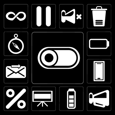 Set Of 13 simple editable icons such as Switch, Megaphone, Battery, Television, Percent, Smartphone, Send, Compass on black background