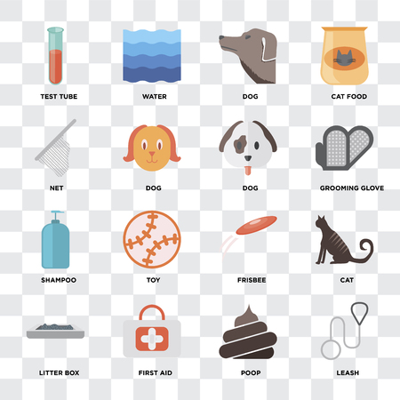 Set Of 16 icons such as Leash, Poop, First aid, Litter box, Cat, Test tube, Net, Shampoo, Dog on transparent background, pixel perfect