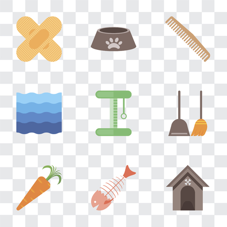 Set Of 9 simple transparency icons such as Kennel, Fish bone, Carrot, Dustpan, Platform, Water, Comb, Dog food, Band aid, can be used for mobile, pixel perfect vector icon pack on transparent