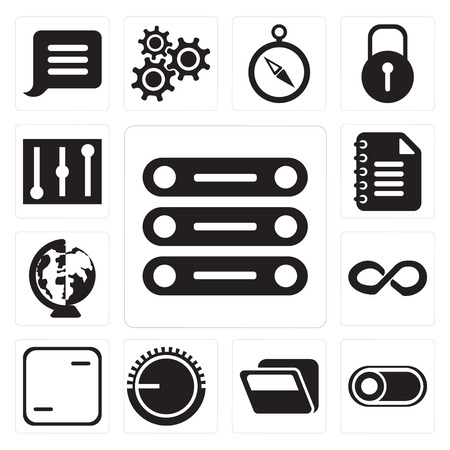 Set Of 13 simple editable icons such as Database, Switch, Folder, Volume control, Frame, Infinity, Worldwide, Notepad, Controls, web ui icon pack