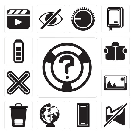 Set Of 13 simple editable icons such as Help, Muted, Smartphone, Worldwide, Trash, Picture, Multiply, Reading, Battery, web ui icon pack