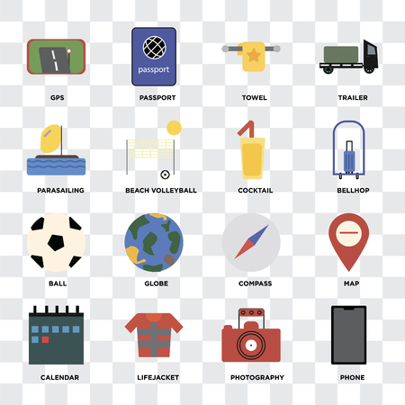 Set Of 16 icons such as Phone, Photography, Lifejacket, Calendar, Map, Gps, Parasailing, Ball, Cocktail on transparent background, pixel perfect