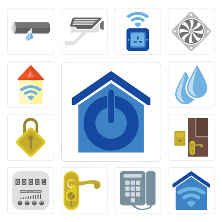 Set Of 13 simple editable icons such as Smart home, Dial, Doorknob, Meter, Doorbell, Locking, Water, Automation, web ui icon pack 向量圖像