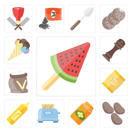 Set van 13 eenvoudige bewerkbare pictogrammen zoals ijs, aardappelen, honing, broodrooster, mosterd, chips, meel, peper, web ui icon pack