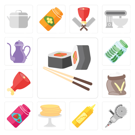 Set Of 13 simple editable icons such as Sushi, Grinder, Mustard, Pancakes, Jam, Flour, Ham, Pickles, Teapot, web ui icon pack 일러스트