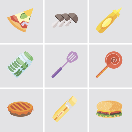 Set Of 9 simple editable icons such as Hamburguer, Butter, Pie, Jawbreaker, Spatula, Pickles, Mustard, Mushrooms, Pizza, can be used for mobile, pixel perfect vector icon pack