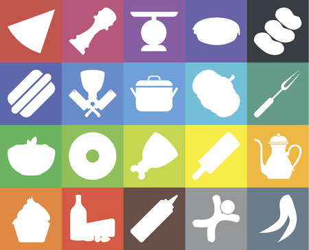 Set Of 20 icons such as Peas, Gingerbread, Mustard, Dairy, Cupcake, Potatoes, Teapot, Ham, Pasta, Butcher, Pumpkin, Pizza, Fork, Scale, web UI editable icon pack, pixel perfect