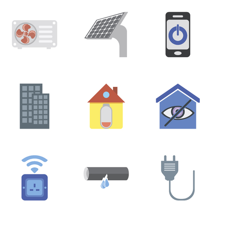Set Of 9 simple editable icons such as Plug, Leak, Socket, Smart home, Home, Smartphone, Panel, Air conditioner, can be used for mobile, pixel perfect vector icon pack