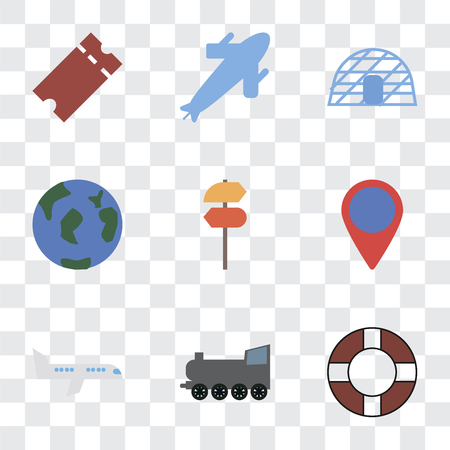 Set Of 9 simple transparency icons such as Lifebuoy, Railway, Airplane, Location, Pointer, Travel, Igloo, Plane, Tickets, can be used for mobile, pixel perfect vector icon pack on transparent