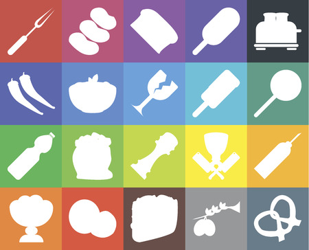 Set Of 20 icons such as Pretzel, Olives, Taco, Coconut, Ice cream, Toaster, Oil, Pepper, Water, Pasta, Fork, Jawbreaker, Bread, web UI editable icon pack, pixel perfect Ilustração