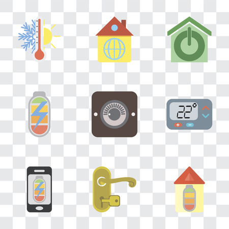 Set Of 9 simple transparency icons such as Home, Handle, Mobile phone, Thermostat, Dimmer, Power, Smart home, can be used for mobile, pixel perfect vector icon pack on transparent Banque d'images - 111925617