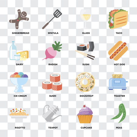 Set Of 16 icons such as Peas, Cupcake, Teapot, Risotto, Toaster, Gingerbread, Dairy, Ice cream, Sushi on transparent background, pixel perfect Çizim