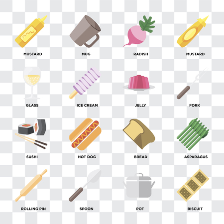 Set Of 16 icons such as Biscuit, Pot, Spoon, Rolling pin, Asparagus, Mustard, Glass, Sushi, Jelly on transparent background, pixel perfect