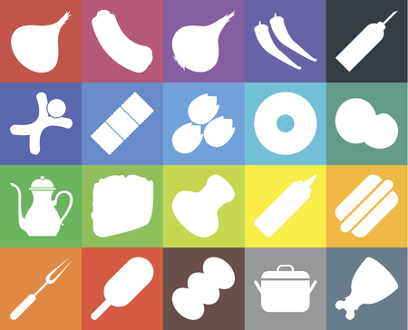 Set Of 20 icons such as Ham, Pot, Coffee, Ice cream, Fork, Oil, Hot dog, Salt, Teapot, Biscuit, Doughnut, Onion, Coconut, web UI editable icon pack, pixel perfect