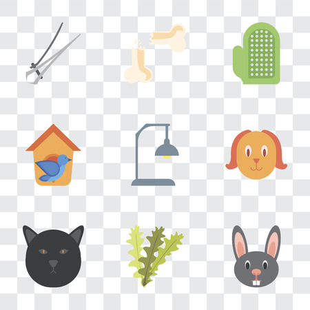 Set Of 9 simple transparency icons such as Rabbit, Seaweed, Cat, Dog, Lamp, Bird house, Glove, Bone, Nail trimmer, can be used for mobile, pixel perfect vector icon pack on transparent background Illustration