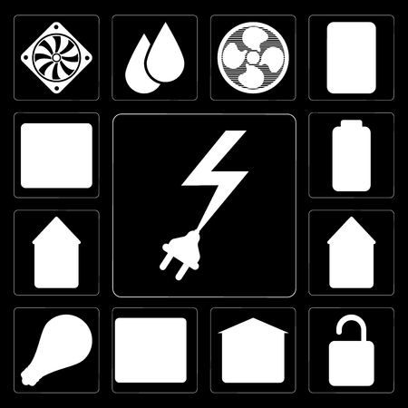 Set Of 13 simple editable icons such as Power, Unlock, Garage, Fire alarm, Smart, Home, Smart home, Battery, Browser on black background