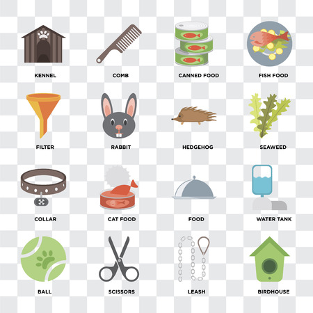Set Of 16 icons such as Birdhouse, Leash, Scissors, Ball, Water tank, Kennel, Filter, Collar, Hedgehog on transparent background, pixel perfect