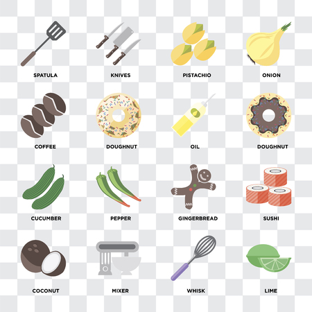 Set Of 16 icons such as Lime, Whisk, Mixer, Coconut, Sushi, Spatula, Coffee, Cucumber, Oil on transparent background, pixel perfect
