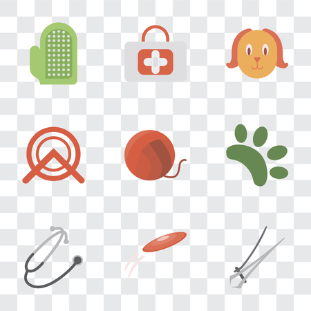 Set Of 9 simple transparency icons such as Nail trimmer, Frisbee, Stethoscope, Animal, Yarn, Wheel, Dog, First aid, Glove, can be used for mobile, pixel perfect vector icon pack on transparent Stockfoto - 111925629