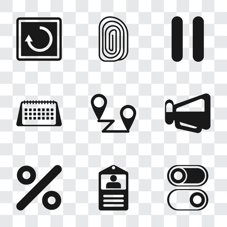Set Of 9 simple transparency icons such as Switch, Id card, Percent, Megaphone, Placeholders, Calendar, Pause, Fingerprint, Restart, can be used for mobile, pixel perfect vector icon pack on