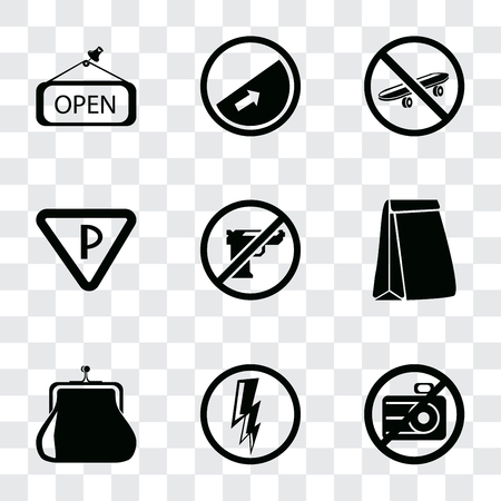Set Of 9 simple transparency icons such as No camera, Electricity, Purse, Paper bag, Gun, Parking, Skateboard, Slope, Open, can be used for mobile, pixel perfect vector icon pack on transparent