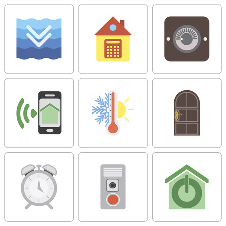 Set Of 9 simple editable icons such as Smart home, Intercom, Alarm, Door, Thermostat, Smartphone, Dimmer, Home, Deep, can be used for mobile, pixel perfect vector icon pack