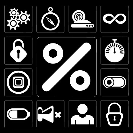 Set Of 13 simple editable icons such as Percent, Locked, User, Mute, Battery, Switch, Stop, Stopwatch, Unlocked on black background 스톡 콘텐츠 - 111925636
