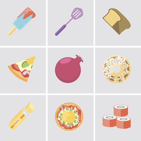 Set Of 9 simple editable icons such as Sushi, Pizza, Butter, Doughnut, Pomegranate, Bread, Spatula, Ice cream, can be used for mobile, pixel perfect vector icon pack Banque d'images - 111925637