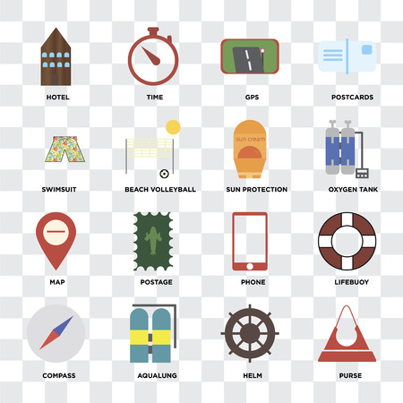 Set Of 16 icons such as Purse, Helm, Aqualung, Compass, Lifebuoy, Hotel, Swimsuit, Map, Sun protection on transparent background, pixel perfect