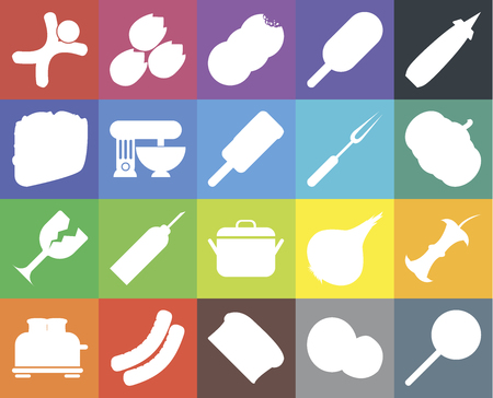 Set Of 20 icons such as Jawbreaker, Coconut, Bread, Sausage, Toaster, Mustard, Apple, Pot, Glass, Mixer, Fork, Gingerbread, Pumpkin, Cookies, web UI editable icon pack, pixel perfect Ilustracja