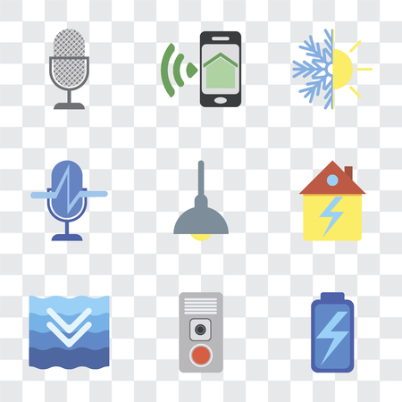 Set Of 9 simple transparency icons such as Battery, Intercom, Deep, Home, Lighting, Voice control, Heating, Smartphone, can be used for mobile, pixel perfect vector icon pack on Illustration