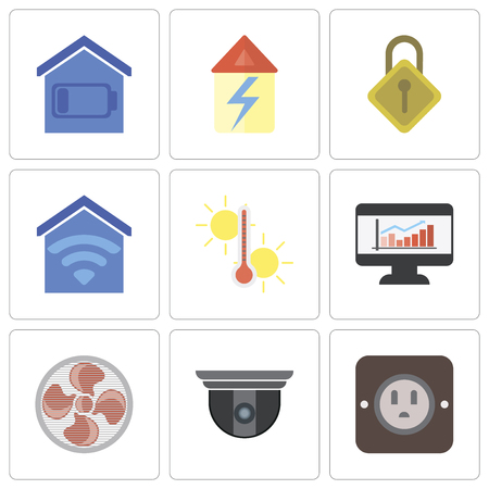 Set Of 9 simple editable icons such as Plug, Security camera, Fan, Dashboard, Temperature, Smart home, Locking, Home, can be used for mobile, pixel perfect vector icon pack Ilustração