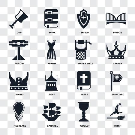 Ensemble de 16 icônes telles que sorcière, gobelet, caravelle, collier, standard, tasse, pilori, viking, puits d'eau sur fond transparent, pixel parfait