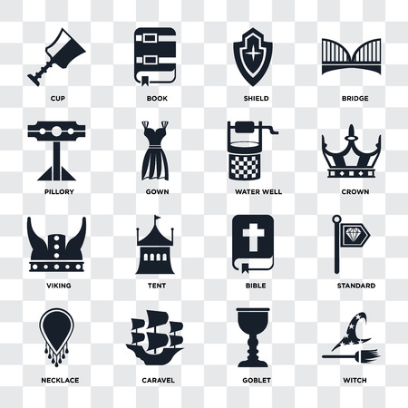 Set Of 16 icons such as Witch, Goblet, Caravel, Necklace, Standard, Cup, Pillory, Viking, Water well on transparent background, pixel perfect