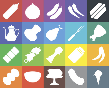 Set Of 20 icons such as Ice cream, Hot dog, Pancakes, Bowl, Coffee, Peas, Pepper, Biscuit, Salt, Fork, Mustard, Ham, Cucumber, web UI editable icon pack, pixel perfect