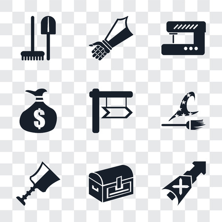 Set Of 9 simple transparency icons such as Lance, Chest, Cup, Witch, Money bag, Sewing machine, Gauntlet, Tools, can be used for mobile, pixel perfect vector icon pack on transparent background Standard-Bild - 111925647