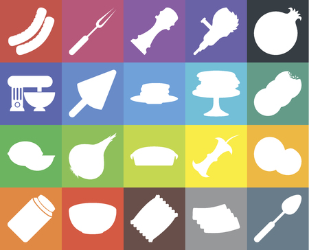 Set Of 20 icons such as Spoon, Bacon, Chips, Bowl, Pickles, Pomegranate, Coconut, Pie, Lime, Ice cream, Pancakes, Sausage, Cookies, Pepper, web UI editable icon pack, pixel perfect